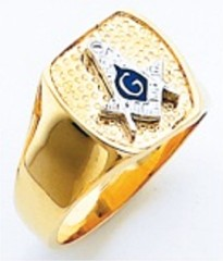 3rd Degree Masonic Blue Lodge Ring 10KT OR 14KT,  Solid Back, White or Yellow Gold 221b