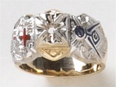 Knights Templar Ring 10K or 14K Gold, Open or Solid Back #1515