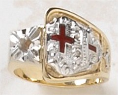 Knights  Templar Ring 10KT or 14KT Gold, Open or Solid Back #1517a