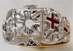 Knights Templar Ring 10K or 14K Gold, Open or Solid Back #1520