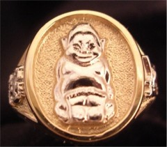 Royal  Order of Jesters Ring, 10K or 14K, Open or Solid Back Jester #3