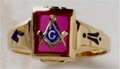 3rd Degree Blue Lodge Masonic Ring 10KT or 14KT Yellow or White Gold, Open or Solid Back #521