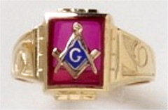 3rd Degree Blue Lodge Masonic Ring 10KT or 14KT Yellow or White Gold, Open or Solid Back #524