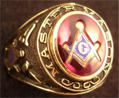 3rd Degree Blue Lodge Masonic Ring 10KT or 14KT YELLOW OR WHITE Gold, Open or Solid Back  #423