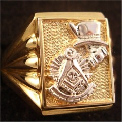 Masonic Past Master Rings 10KT or 14KT YELLOW OR WHITE Gold, Open or Solid Back #1023