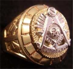 Masonic Past Master Rings, 10KT or 14KT YELLOW OR WHITE GOLD, Open or Solid Back #1014