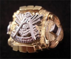Masonic Past Master Rings, 10KT or 14KT YELLOW OR WHITE GOLD, Open or Solid Back #1009