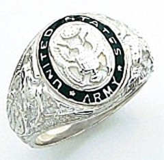 Sterling Silver or Gold Plated, Open Back, Army Ring #7005