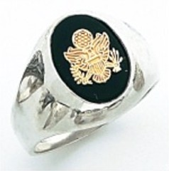 Sterling Silver or Gold Plated, Solid Back Army Ring #7016
