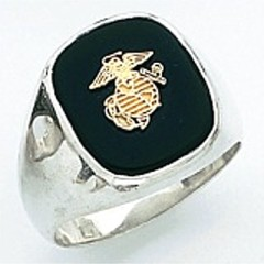 Sterling Silver or Gold Plated, Solid Back  Marine Ring #7009