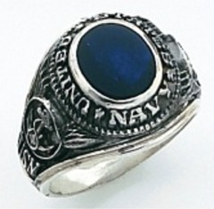 Sterling Silver or Gold Plated, Solid Back Navy Ring #7013