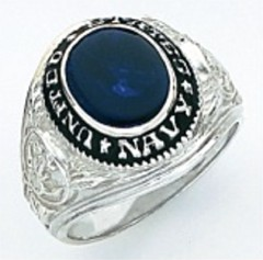 Sterling Silver or Gold Plated Navy Ring, Solid Back #7001