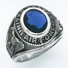 Sterling Silver or Gold Plated, Solid Back  Air Force Ring #7000