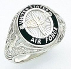 Sterling Silver or Gold Plated, Solid Back  Air Force Ring #7007