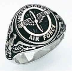 Sterling Silver or Gold Plated, Solid Back Air Force Ring #7011