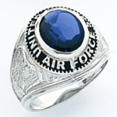 Sterling Silver or Gold Plated, Solid Back  Air Force Ring #7008