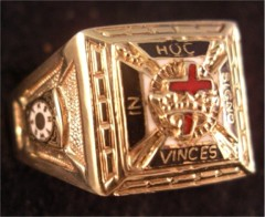 Knights Templar Rings 10K Shank with 14K top or all 14K Gold, Open or Solid Back #1505