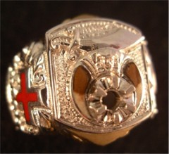 Knights Templar Ring 10K or 14K Gold, Open or Solid Back #1514