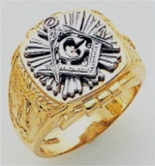 3rd Degree Masonic Blue Lodge Ring 10KT OR 14KT, Open Back, White or Yellow Gold, #223b