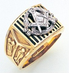 3rd Degree Masonic Blue Lodge Ring 10KT OR 14KT, Open Back, White or Yellow Gold, #225b