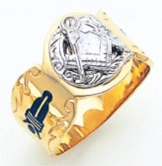 3rd Degree Masonic Blue Lodge Ring 10KT OR 14KT, Solid Back, White or Yellow Gold, #226b