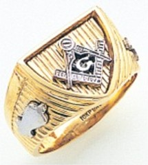 3rd Degree Masonic Blue Lodge Ring 10KT OR 14KT, Open Back, White or Yellow Gold, #227b