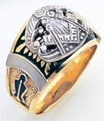 3rd Degree Masonic Blue Lodge Ring 10KT OR 14KT, Concave Back, White or Yellow Gold, #228b