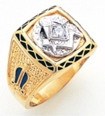 3rd Degree Masonic Blue Lodge Ring 10KT OR 14KT, Solid Back, White or Yellow Gold.with Diamonds, #229b