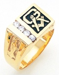 3rd Degree Masonic Blue Lodge Ring 10KT OR 14KT, Solid Back, White or Yellow Gold, with Dia #230b