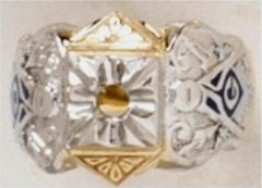 3rd Degree Masonic Ring 10KT OR 14KT, Open or Solid Back, White or Yellow Gold #607
