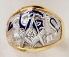 3rd Degree Masonic Ring 10KT OR 14KT, Open or Solid Back, White or Yellow Gold #610