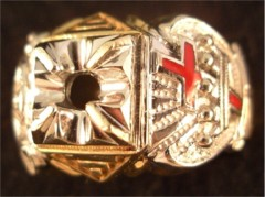 Knights  Templar Ring 10K or 14K Gold, Open or Solid Back #1516