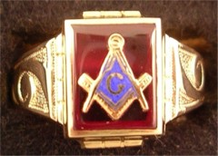 3rd Degree Blue Lodge Masonic Ring 10KT or 14KT YELLOW OR WHITE Gold, Open or Solid Back  #404