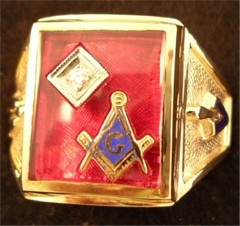3rd Degree Blue Lodge Masonic Ring 10KT or 14KT YELLOW OR WHITE Gold, Solid Back #400