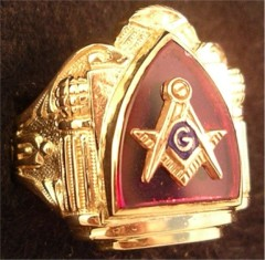 3rd Degree Blue Lodge Masonic Ring 10KT or 14KT YELLOW OR WHITE Gold, Open or Solid Back #413