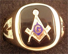 3rd Degree Blue Lodge Masonic Ring 10KT OR 14KT Yellow or White Gold, Solid Back #509