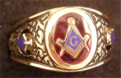 3rd Degree Blue Lodge Masonic Ring 10KT or 14KT YELLOW OR WHITE Gold, Open or Solid Back 401