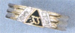 LADIES 33RD DEGREE MASONIC MINI RING WITH DIAMONDS  .06CT  #1609