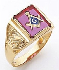 3rd Degree Masonic Blue Lodge Ring 10KT OR 14KT, Open or Solid Back, White or Yellow Gold, #129b