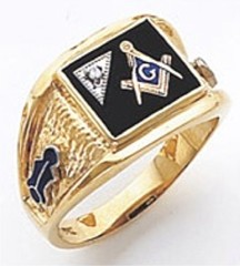 3rd Degree Masonic Blue Lodge Ring 10KT OR 14KT, Solid Back, White or Yellow Gold, #133b