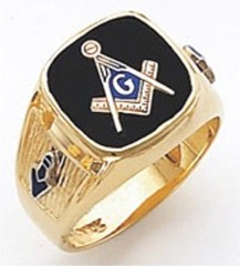 3rd Degree Masonic Blue Lodge Ring 10KT OR 14KT, Open or Solid Back, White or Yellow Gold, #134b