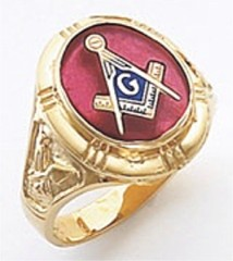 3rd Degree Masonic Blue Lodge Ring 10KT OR 14KT, Open or Solid Back, White or Yellow Gold, #136b