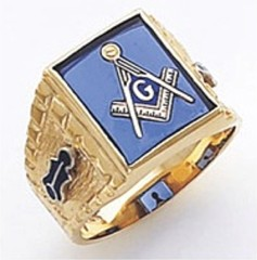3rd Degree Masonic Blue Lodge Ring 10KT OR 14KT, Open or Solid Back, White or Yellow Gold, #137b