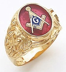 3rd Degree Masonic Blue Lodge Ring 10KT OR 14KT, Open or Solid Back, White or Yellow Gold, #138b