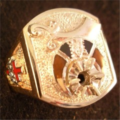 Shrine Ring 10KT or 14KT Gold, Open or Solid Back #1ab