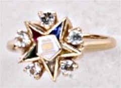 Eastern Star 10Kt or 14KT with Diamonds, Yellow or White Gold #64