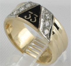 33RD DEGREE MASONIC RING,MEDIUM WEIGHT, or HEAVY WEIGHT.18CT TOTAL DIAMOND WEIGHT  #1605A