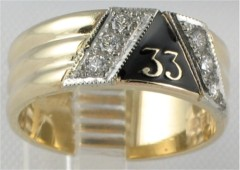 33RD DEGREE MASONIC RING,MEDIUM WEIGHT, OR HEAVY WEIGHT  .24CT TOTAL DIAMOND WEIGHT  #1606