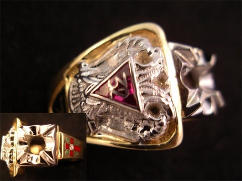Scottish Rite & York Rite Ring 10KT or 14KT Gold Open or Solid Back #1135