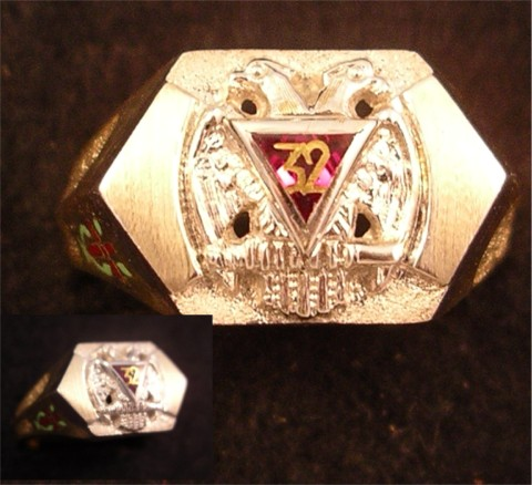 Scottish Rite & York Rite Ring 10KT or 14KT Gold, Open or Solid Back #1137